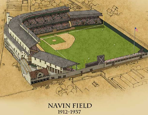 Navin Field Detroit Tigers' Ball Park 1912-37 hand sketch